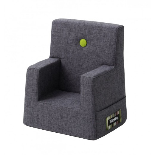 By Klipklap KK Kids Chair (Blue Grey 510 w. green buttons)-31