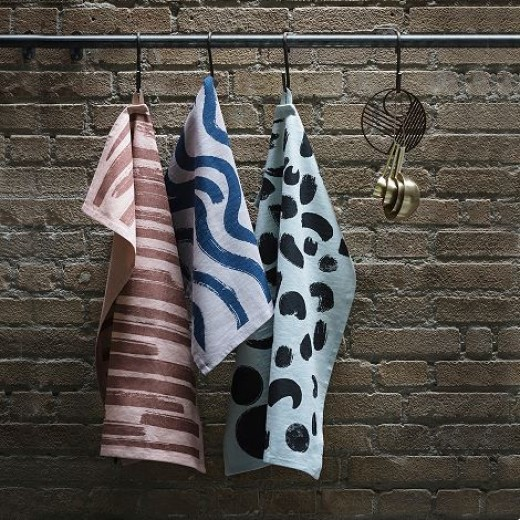 Ferm Living Brush Tea Towels Rust/rosa-31