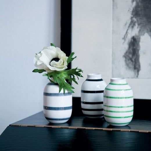Kähler Omaggio mini vaser 3-pak Sort,Grå,Grøn-31