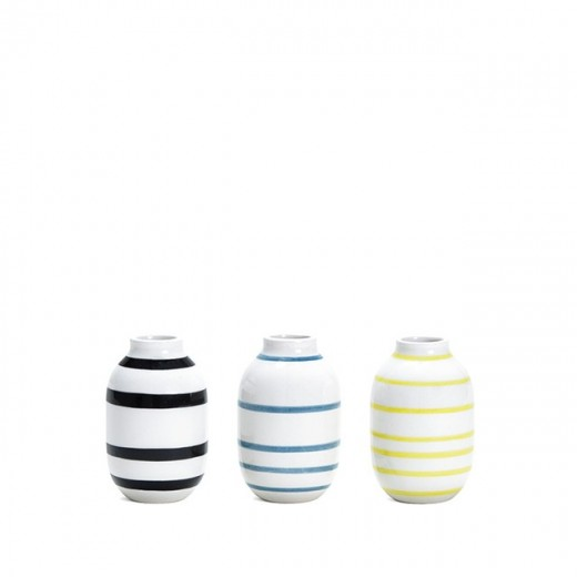 Kähler Omaggio mini vaser 3-pak (Sort/Blå/Gul)-31