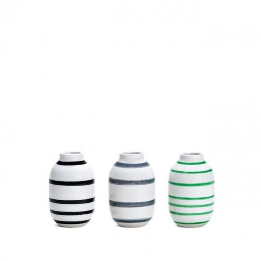 Kähler Omaggio mini vaser 3-pak (Sort/Grå/Grøn)-31