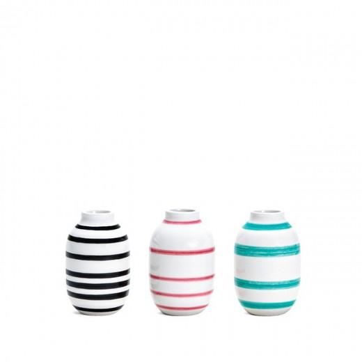 Kähler Omaggio mini vaser 3-pak (Sort/Rosa/Grøn)-31
