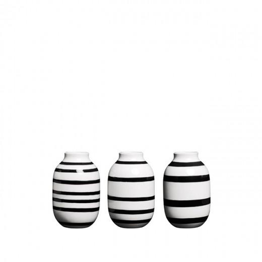 Kähler Omaggio mini vaser 3-pak (Sort)-31