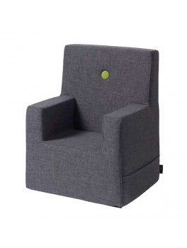 By Klipklap KK Kids Chair XL Blue Grey with green buttons.-20