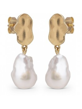 Enamel Alua earring guld med naturperle-20