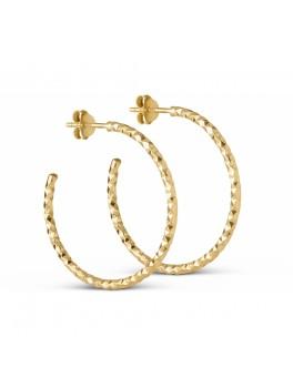 Enamel Diamond Cut hoops guld large-20
