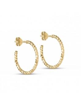 Enamel Diamond Cut hoops guld small-20