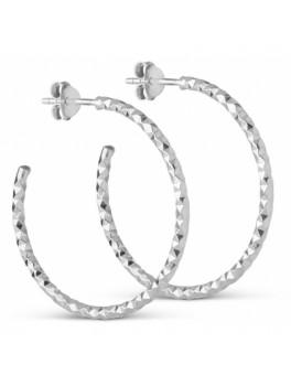 Enamel Diamond Cut hoops sølv large-20