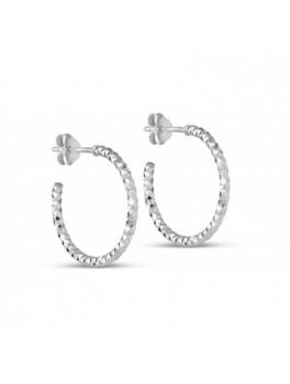 Enamel Diamond Cut hoops sølv small-20
