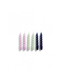 Hay Spiral Candle 6 pk. Lilac/Mint/Blue-20