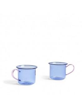 Hay - Borosilicate glass cup 2 stk - Light Blue w. pink handle