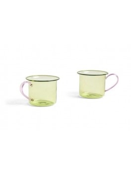 Hay - Borosilicate glass cup 2 stk - Light lime w. pink handle