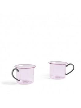 Hay - Borosilicate glass cup 2 stk - Light Pink w. grey