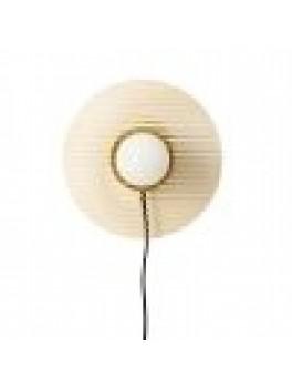 Hübsch Væglampe m/pære, Glas/metal ravgul/messing-20