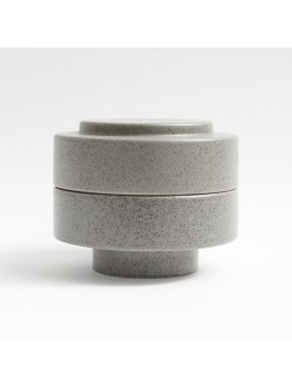 Ania Karen Jar w. lid Light grey dots H11,5xØ13,5 cm.-20