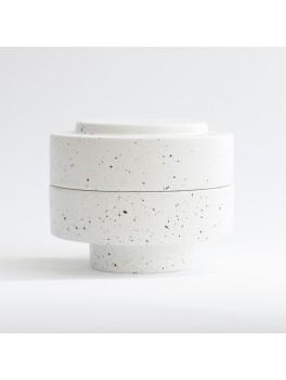 Ania Karen Jar w. lid White dots H11,5xØ13,5 cm.-20