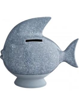 Kähler Sparedyr Gråblå fisk H14,5 cm.-20