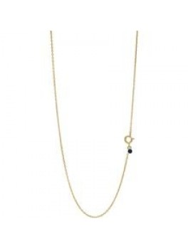 Enamel Necklace, letter Guld Midnight blue-20