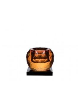 Lyngby Glas Cube fyrfadsstage i krystal amber-20