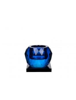 Lyngby Glas Cube fyrfadsstage i krystal Blue-20
