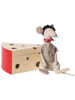Maileg Rat in cheese box light grey-20