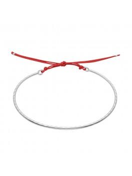 Enamel Copenhagen - Armbånd, Bangle, hammered - Sølv/rød